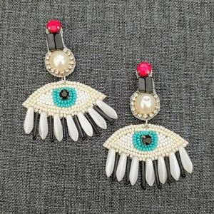 Jewelry - CRYSTAL PAVE FAUX PEARL BEADED EVIL EYE EARRINGS